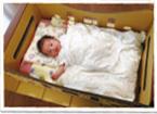 ダンボール揺り籠の中に敷かれた布団に寝かされたあかちゃんが、こちらを見ている写真
